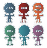 Sale icons. Coloured sale icons and labels stock illustration