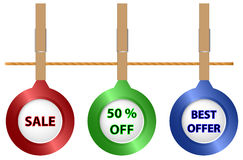 Sale icons on the cord Royalty Free Stock Images