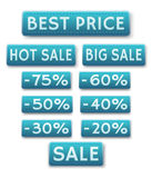 Sale icons in english. Vector decorative icons of sale and discounts Royalty Free Stock Photography