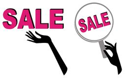 Sale icons with hands Stock Photo