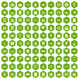 100 sale icons hexagon green. 100 sale icons set in green hexagon isolated vector illustration Vector Illustration
