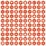 100 sale icons hexagon orange. 100 sale icons set in orange hexagon isolated vector illustration vector illustration