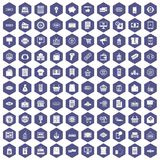 100 sale icons hexagon purple. 100 sale icons set in purple hexagon isolated vector illustration Royalty Free Stock Images
