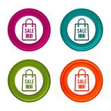 Sale icons. Sale Bag signs. Shopping symbol. Colorful web button with icon. Eps10 Vector Stock Illustration