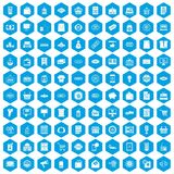 100 sale icons set blue. 100 sale icons set in blue hexagon isolated vector illustration royalty free illustration