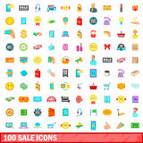 100 sale icons set, cartoon style. 100 sale, icons set in cartoon style for any design vector illustration Stock Photography