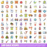 100 sale icons set, cartoon style. 100 sale icons set. Cartoon illustration of 100 sale vector icons isolated on white background Royalty Free Stock Images