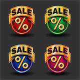 Sale icons set. Set of color sale icons for your design. Vector illustration Stock Photo