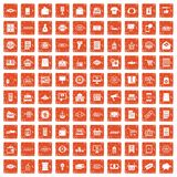 100 sale icons set grunge orange. 100 sale icons set in grunge style orange color isolated on white background vector illustration stock illustration