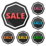 Sale icons set with long shadow. Icon Royalty Free Stock Photography