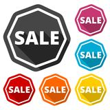 Sale icons set with long shadow. Icon Stock Photography