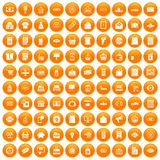 100 sale icons set orange. 100 sale icons set in orange circle isolated on white vector illustration Royalty Free Stock Photos