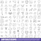 100 sale icons set, outline style. 100 sale icons set in outline style for any design vector illustration stock illustration