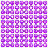 100 sale icons set purple. 100 sale icons set in purple circle isolated on white vector illustration Royalty Free Stock Photography