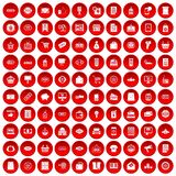 100 sale icons set red. 100 sale icons set in red circle isolated on white vector illustration Royalty Free Stock Photography