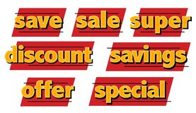 Sale icons special discounts savings black Friday art logos collection. Savings special discounts savings black Friiday art logos collection flyer specials stock illustration