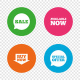 Sale icons. Special offer speech bubbles symbols. Stock Image