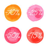 Sale icons in watercolor style Royalty Free Stock Photography