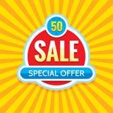Sale - idérik banervektorillustration Abstrakt orientering för befordran för begreppsrabatt 50% Klistermärke för specialt erbjuda vektor illustrationer
