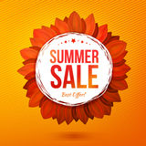 Sale illustrated flower, hot colors vector banner Stock Photo