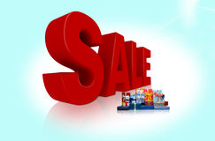 Sale illustration. An illustration of 3d word sale on blu background Royalty Free Stock Photography