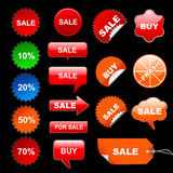 Sale illustration. Colorful stickers on black background, sale concept Royalty Free Stock Images