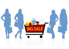 Sale illustration with women shapes Royalty Free Stock Photos