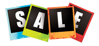 Sale images. Collection of four multi coloured instant sale photographs Royalty Free Stock Images