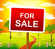 For Sale Indicates Real Estate Agent And Placard Royalty Free Stock Photos