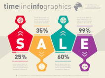 Sale infographic timeline. Business web template with icons. Vec Royalty Free Stock Photos