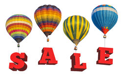 Sale information with hot air balloon Royalty Free Stock Photography