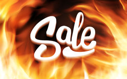Sale inscription in fire flames. Vector banner. Hot Sale 3D typography design. Hand lettering, typography or calligraphy Sale inscription. Vector illustration Royalty Free Stock Photos
