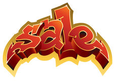 Sale inscription red text. Graffiti style. Red inscription Sale in graffiti style. Vector Stock Photo