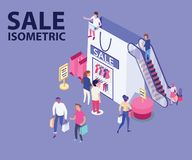 Sale Isometric Artwork of people Shopping fashion/Clothes from a shopping bag vector illustration