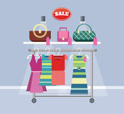 Sale Item Handbags and Clothing Stock Photography