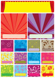 Sale Item Template_eps. Illustration of sale item page with colorful background. Curtain banner to write title or event and set item, price or description on Stock Image