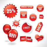 Sale items. Set of red sale stickers, tags, buttons and icons for websites and print Stock Image