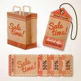 Sale items cardboard set Royalty Free Stock Photos