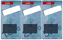 Sale jeans tags, price and discount percents. Sale tags, price and discount percents Royalty Free Stock Photo