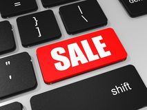 SALE key on keyboard of laptop computer. Stock Photos