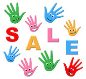 Sale Kids Indicates Youngsters Savings And Promotional. Sale Kids Showing Reduction Offer And Youths Stock Image