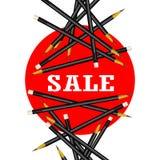 Sale klistermärke Röd bakgrund Blyertspennavektorillustration stock illustrationer