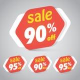 Sale klistermärkeetikett för att marknadsföra återförsäljnings- beståndsdeldesign royaltyfri illustrationer