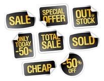Sale klistermärkesamling - specialt erbjudande, ut - av - materielet, billigt pris Arkivbilder