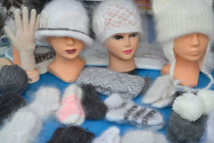 Sale of knitted products at fair of national creativity Royalty Free Stock Photography
