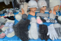 Sale of knitted products at fair of national creativity Royalty Free Stock Images