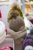 Sale knitted winter hats Royalty Free Stock Image