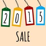 Sale kort 2015 på prislappar royaltyfri illustrationer