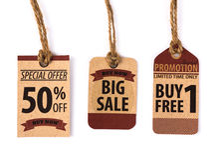 Sale kupong, kupong, etikett Tappning Royaltyfria Foton