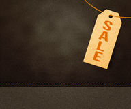 Sale Label Background. Leather Texture Royalty Free Stock Photo